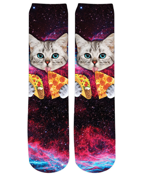 Taco Pizza Space Cat Crew Socks