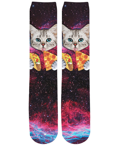 Taco Pizza Space Cat Knee-High Socks
