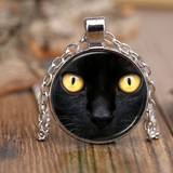 Black Yellow Eye Cat Necklace