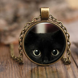 Black Peeking Cat Necklace