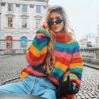 Oversized Rainbow Striped Sweatersweater