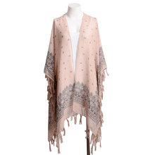Pink Mix Boho Chic Paisley Border Kimono,,[product_vender],Mindful Bohemian