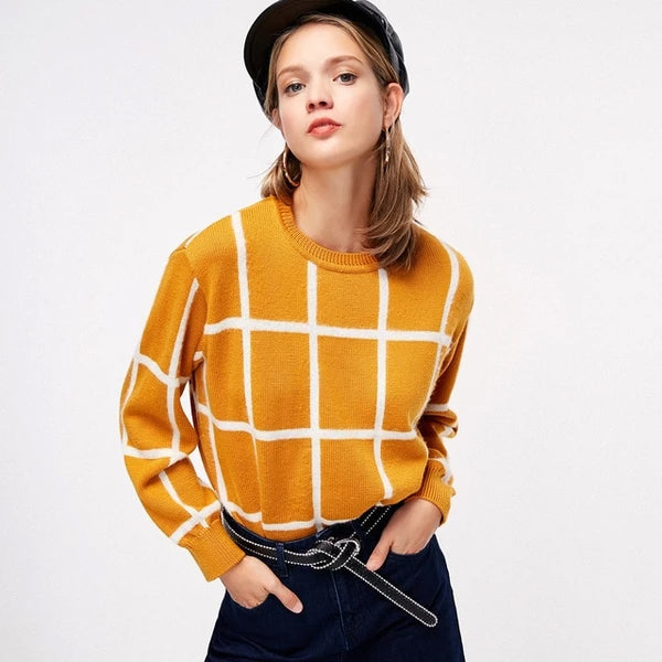 Checker Threaded Cuff Wide Sweater
