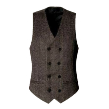 Double Breasted Men's Herringbone Vest