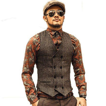 Double Breasted Men's Herringbone Vestmens