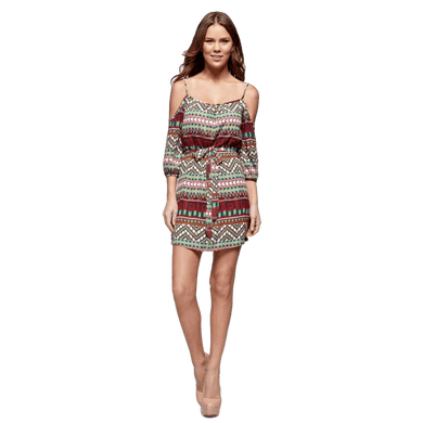 Women's Aztec Printed Shoulderless Dress,romper,[product_vender],Mindful Bohemian
