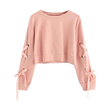 Eyelet Lace-up Sleeve Sweatshirt