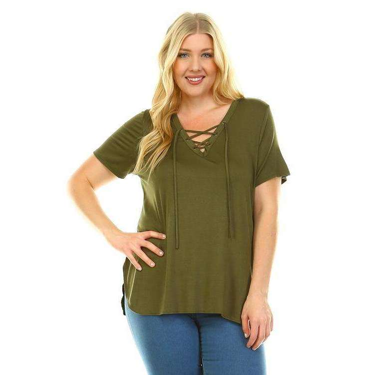 Women's Plus Size Lace Up Short Sleeve Top,Top,[product_vender],Mindful Bohemian