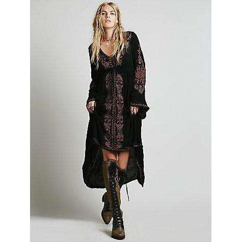 Embroidered Hippie Dress -  Free People - Bohochic - Music Festival