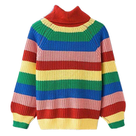 Oversized Rainbow Striped Sweater