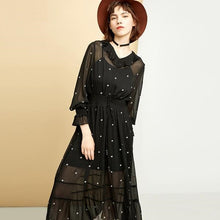 Starry Elastic Waist Chiffon Dress