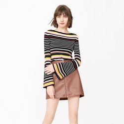 Striped Trumpet Sleeves Sweater