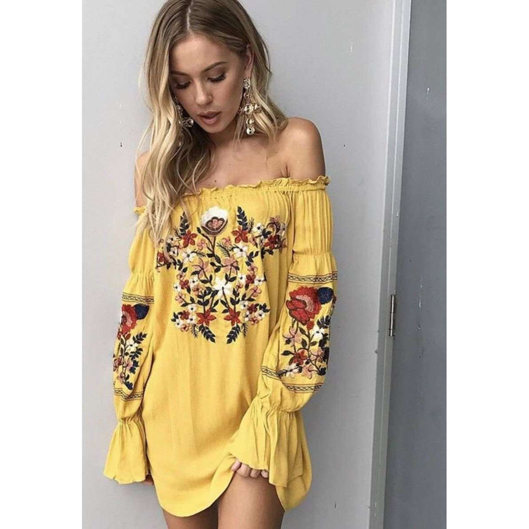 Sunflower Embroidered Dress,dress,Mindful Bohemian,Mindful Bohemian