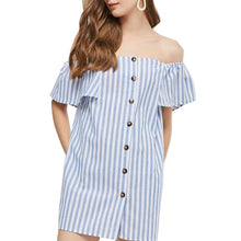 Casual Striped Off Shoulder Mini
