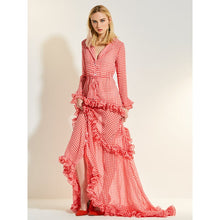 Sweet Red Ruffled Long Dress