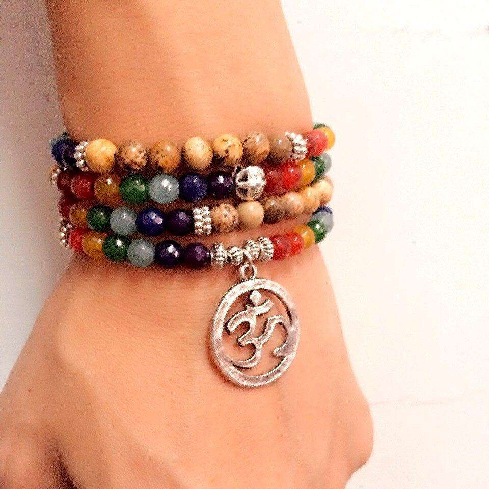 Chakra Om Beaded Bracelet -  Free People - Bohochic - Music Festival