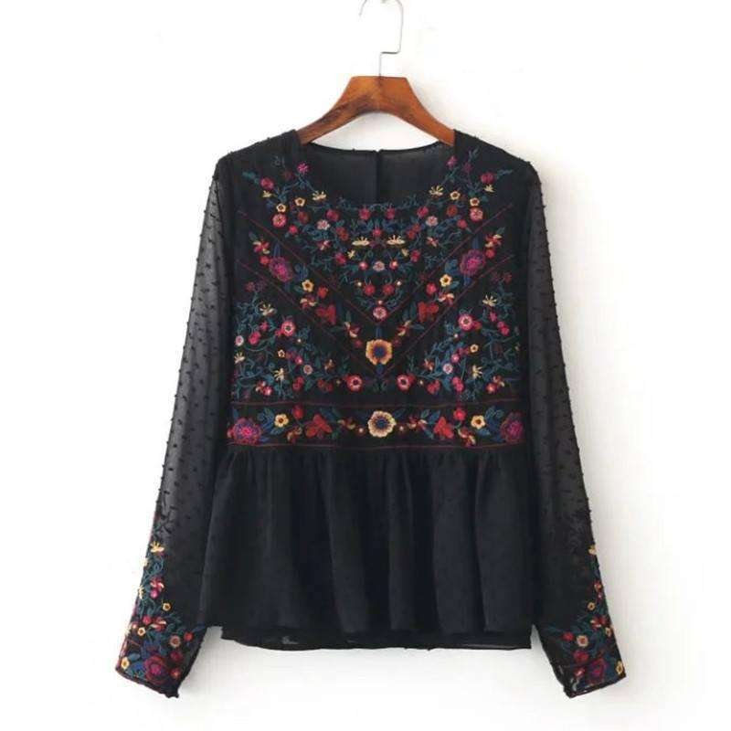Floral Embroidered Boho Top -  Free People - Bohochic - Music Festival