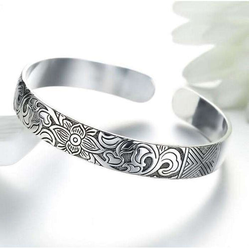 Silver Lotus Bangle,jewels,[product_vender],Mindful Bohemian