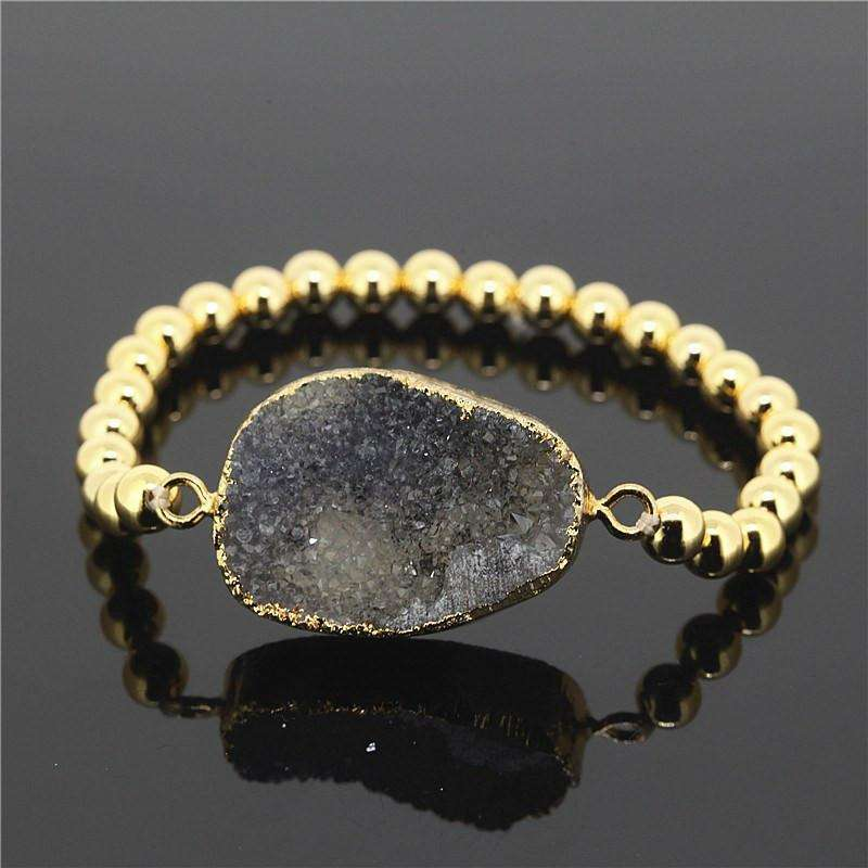 Gold Plated Beads Moon Druzy -  Free People - Bohochic - Music Festival
