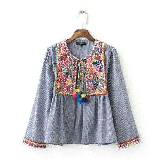 Pom Embroidered Boho Top - Mindful Bohemian