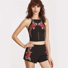 Two Piece Coachella Embroidered Roses - Mindful Bohemian