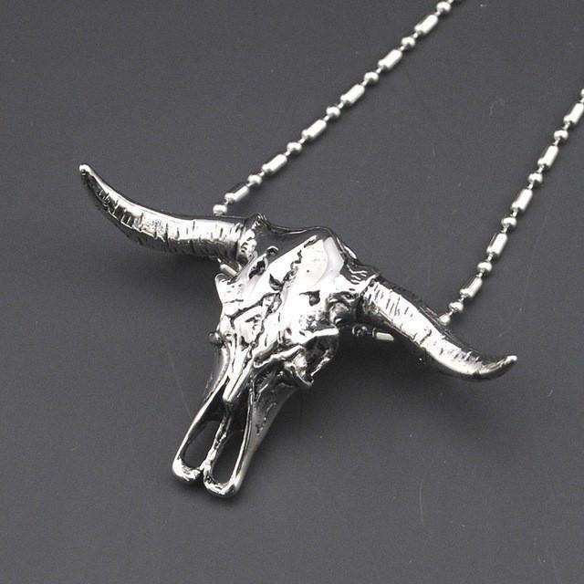 Stainless Steel Bull Head Necklace,necklace,Mindful Bohemian,Mindful Bohemian