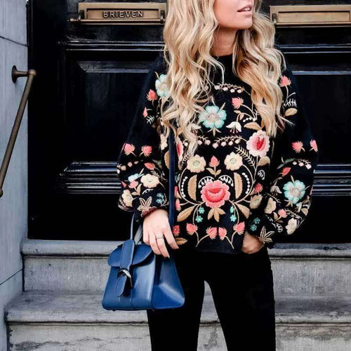 Embroidered Sweatshirt -  Free People - Bohochic - Music Festival