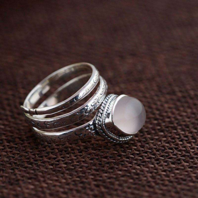 Thai Sterling Silver Moonstone Ring,ring,[product_vender],Mindful Bohemian