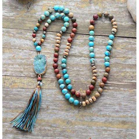 Turqouise Druzy Natural Stone Mala Beads,jewels,[product_vender],Mindful Bohemian