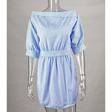 Stacy Blue Off the Shoulder Striped Dress,dress,[product_vender],Mindful Bohemian
