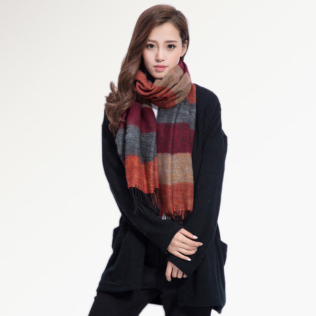 Striped and Tasseled Scarf