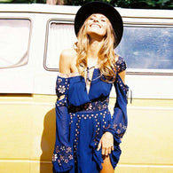 Gypsy Patch Mini Dress -  Free People - Bohochic - Music Festival