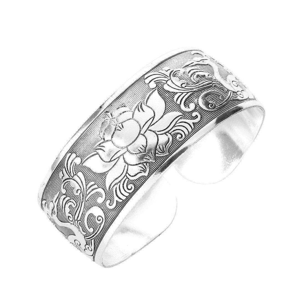Tibet Silver Lotus Cuff,jewels,[product_vender],Mindful Bohemian