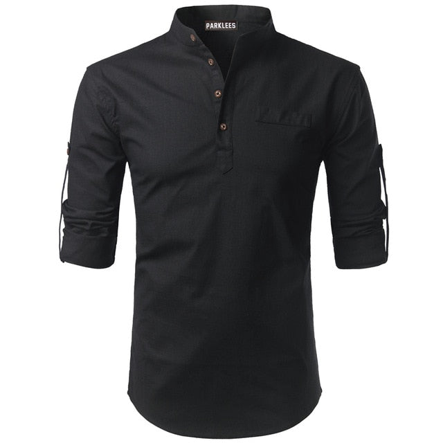 Mens Rolled Up Sleeve Henley Top