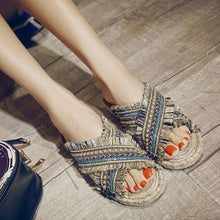 Handmade Straw Slippers -  Free People - Bohochic - Music Festival
