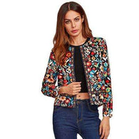 Collarless Botanical Autumn Jacketjacket