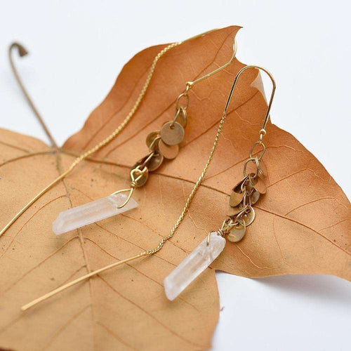 Quartz Crystal Earrings,earrings,[product_vender],Mindful Bohemian