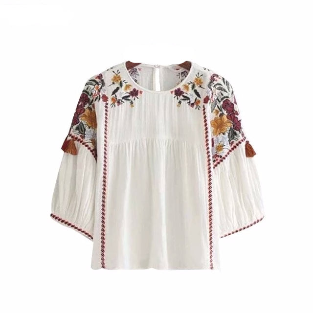 Embroidered Floral Tassels Top