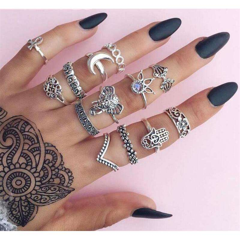13pcs Boho Totem Rings -  Free People - Bohochic - Music Festival