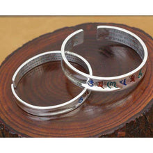 Handcrafted 999 Silver Bangle Tibetan OM Mani Padme Hum Bangle -  Free People - Bohochic - Music Festival