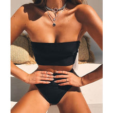 High Waist Bandeau Bikini Set