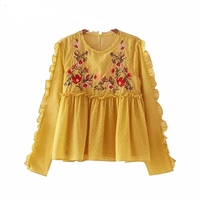 Ruffled Embroidered Floral Top