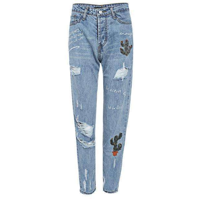 Embroidered Cacti Jeans -  Free People - Bohochic - Music Festival