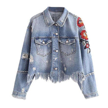 Fringed Floral Denimjacket