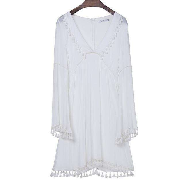 Ivory Tassel Dress -  Free People - Bohochic - Music Festival