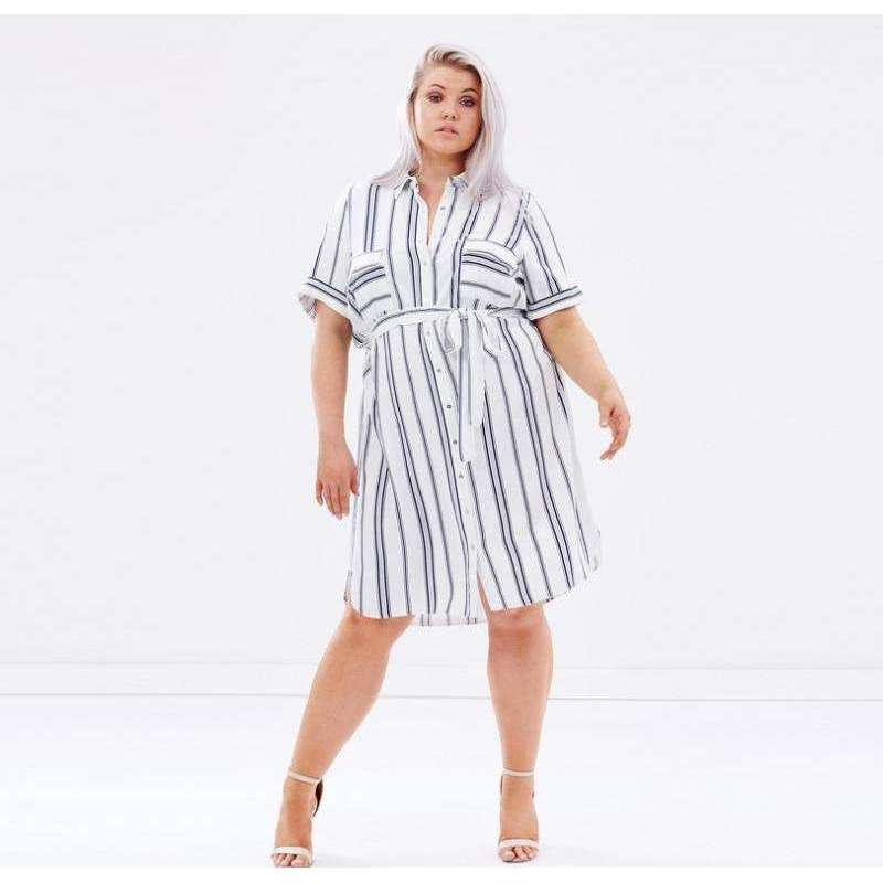 Plus Size Waist Tie Boating Dress,dress,[product_vender],Mindful Bohemian