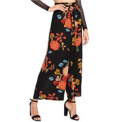 Japanese Floral High Waist Vacation Trousers,pants,Mindful Bohemian,Mindful Bohemian
