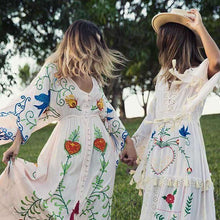 Embroidered BlueBird Women Maxi Dress -  Free People - Bohochic - Music Festival