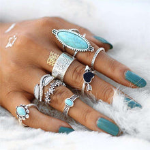 Boho Turquoise Shield Ring Setring set