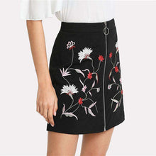 Black Embroidered Zip A-line Mini Skirt -  Free People - Bohochic - Music Festival